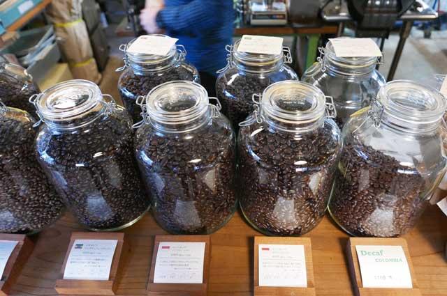 珈琲豆の販売コーナー