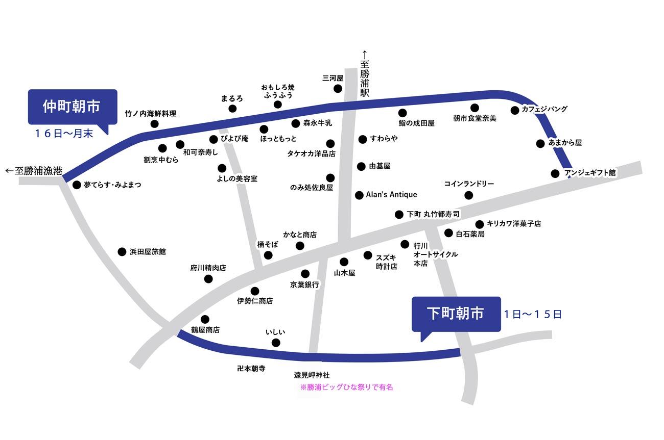 勝浦の朝市マップ