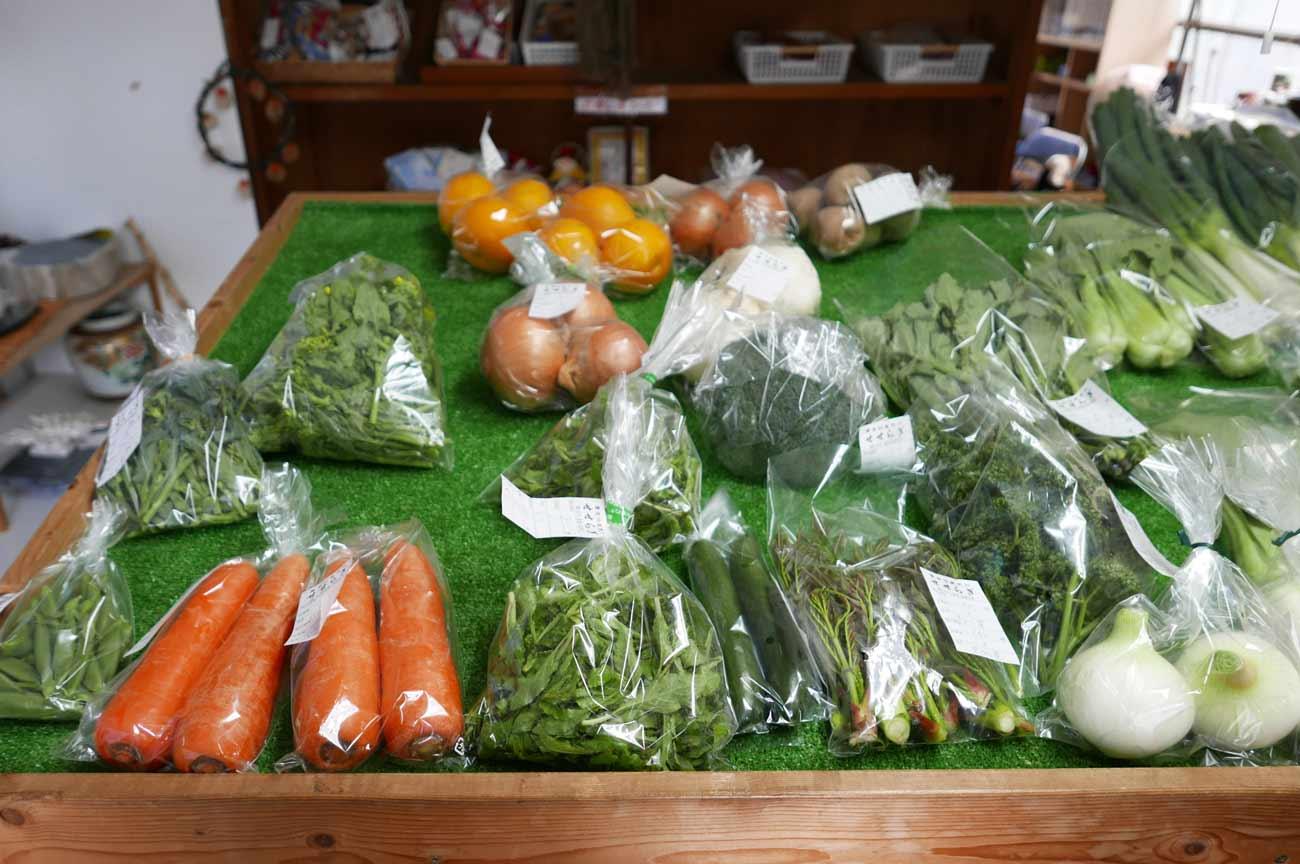 山菜の販売コーナー