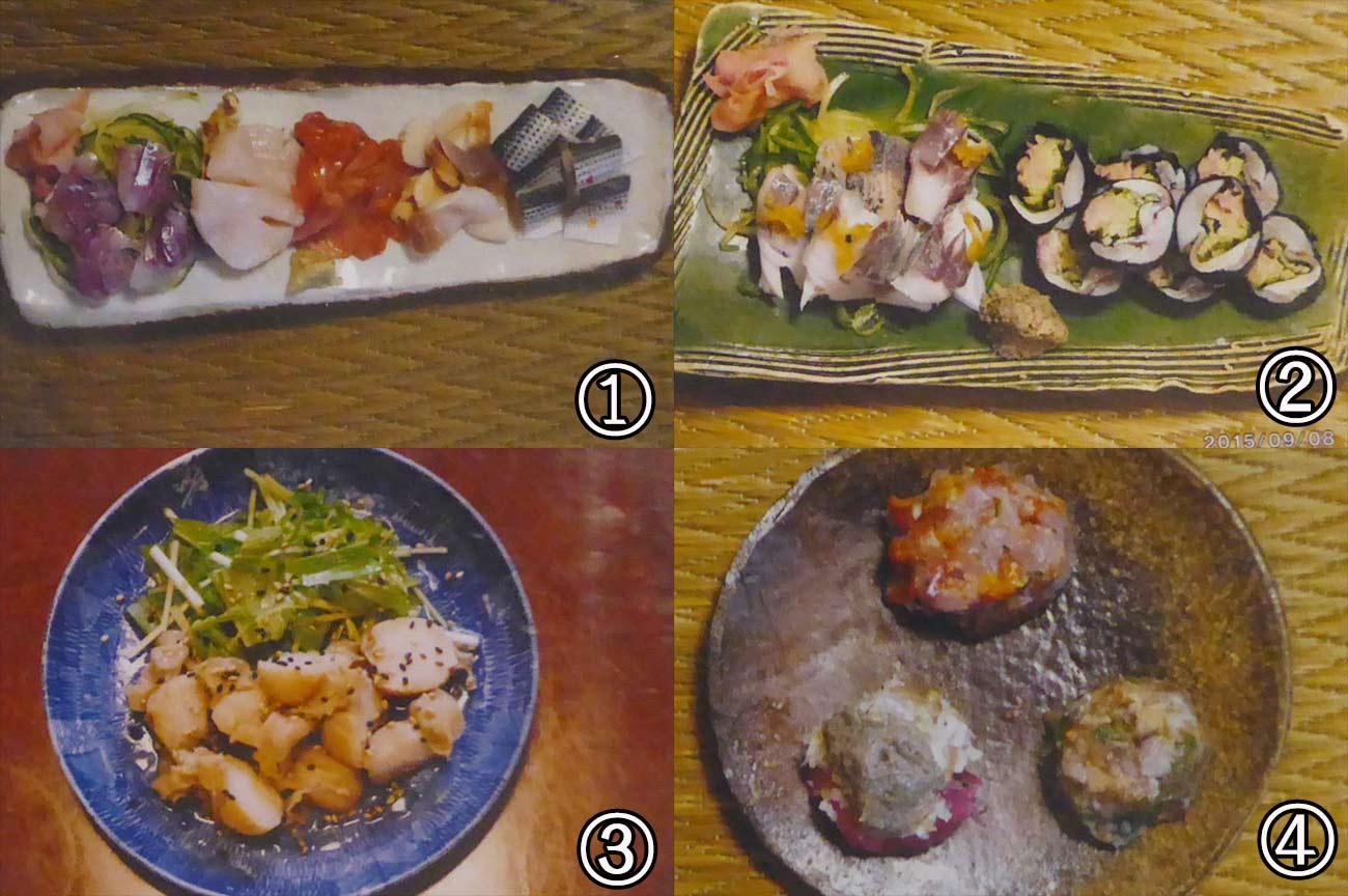 貝づくし&酢の物2種の刺身、鯵とコハダ柚子唐辛子漬、イタヤ貝のオイル和え、赤ホヤ、ワタガラス、カニ味噌のなめろう