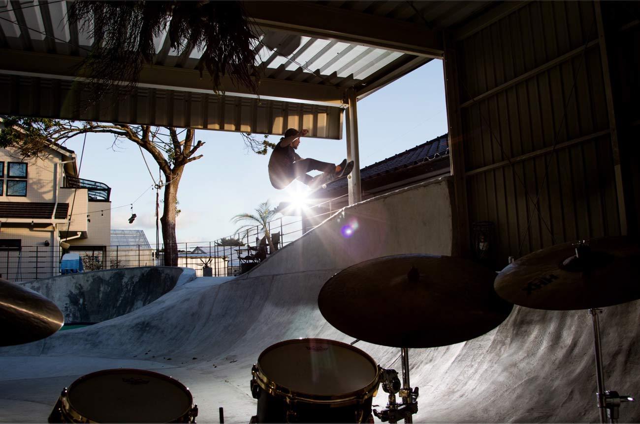 スケートボードの競技中