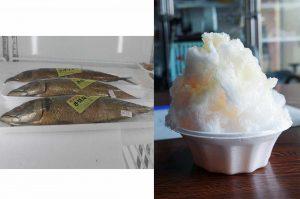プリンのかき氷とサバのなまり節