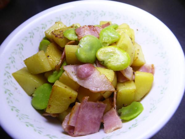 空豆・ベーコン・ジャガイモの炒め物