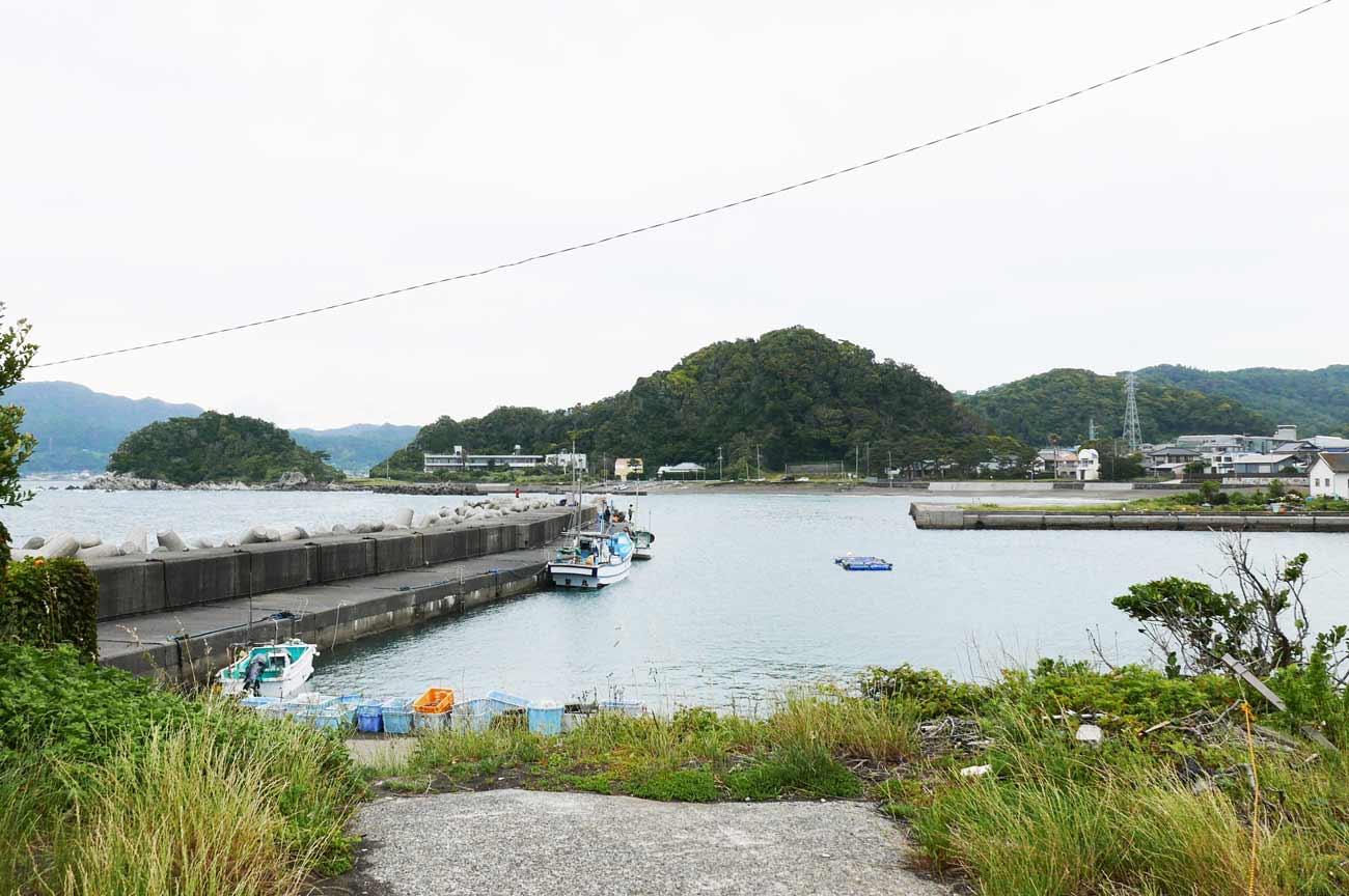 竜島港内の堤防